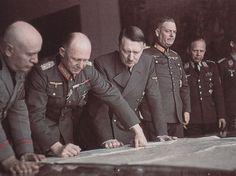 Benito Mussolini, Alfred Jodl, Adolf Hitler and Wilhelm Keitel