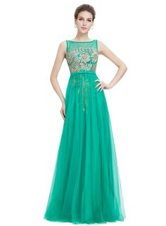 The prom dress is featuring round neck, back zipper closure, sleeveless, high waist and floor length.