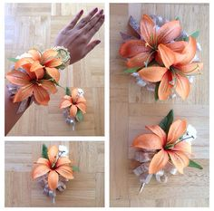 DIY PROM/FORMAL ARTIFICIAL CORSAGE AND BOUTONNIÈRE SET: Orange Lilies