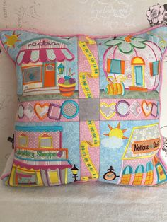 Shop Hop cushion by Anita Goodesign Machine Embroidery Quilts, Machine Embroidery Projects, Embroidery Supplies, Embroidery Patterns, Anita Goodesign, Embroidered Quilts, My Sewing Room, Quilted Pillow, Quilt Making