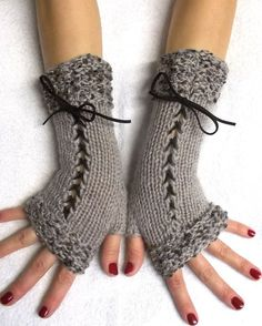 Beige Fingerless Gloves Hand Knitted Corset Wrist by LaimaShop
