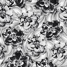 New black and white flower pattern. PSD and JPEG. If you want to buy → patternbank.com/ozgebasaranduran @patternbank #patternbank #patternbankdesigner #editorpicks #pattern #design #art #inspiration #graphicdesign #buy #sell #monochrome #blackwhite #line #stripes #waves #flowers #style #digitalart #activewear #yoga #sports #kidsfashion #friday #christmas #photooftheday 📷: @baskayesil