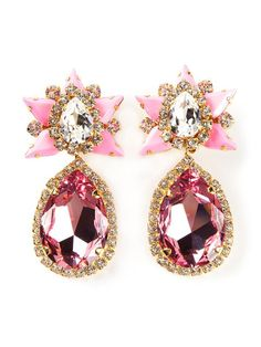 Rose pink glass 'Galaxy' clip-on earrings from Shourouk featuring Swarovski crystals and a clip on fastening.