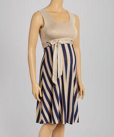 Look at this #zulilyfind! Cream & Navy Stripe Maternity Sleeveless Dress #zulilyfinds
