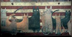 Americana  Folk Art  Cats  Picture  Plaque  by ZellnerPrimitives, $12.99