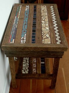 Side table of barn wood and upcycled tile..  Love this idea - with cool turquoise tile - cheap too