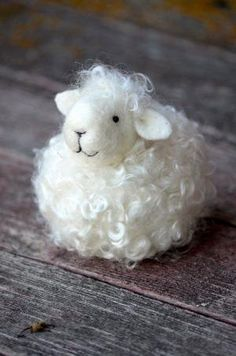 Sheep White wool needle felted lamb needle by BearCreekDesign by toni