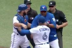 Toronto Blue Jays pitcher Marcus Stroman, manager John Gibbons and catcher Russell Martin were all ejected Thursday at the Rogers Centre.