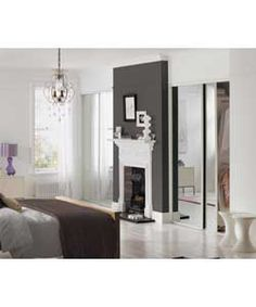 White Frame Mirror Sliding Wardrobe Door Basix Kit - 76.2cm.
