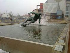 The Tom Finney splash statue outside Preston North End Stadium