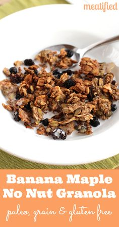 Crunchy Banana Maple Nut Free Granola from http://meatified.com #paleo #glutenfree #vegetarian #vegan