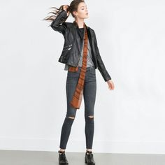 Leather jacket and flat boots