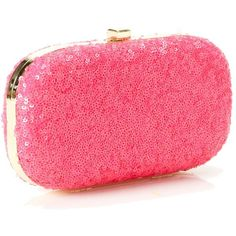 Pink Neon Sequinned Clutch Bag ($44) ❤ liked on Polyvore