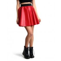 Red pu skater skirt with black elastic band Fabric/ 100% Polyester