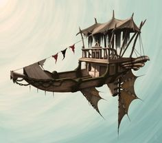 airship with wings and banner. #steampunkart http://www.pinterest.com/TheHitman14/artwork-steampunked/