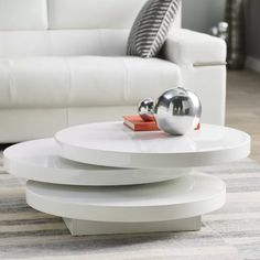 The Wade Logan Marjorie Coffee Table is a unique-looking piece with a circular three-tier design where the top two tiers rotate freely through 360 degrees. Pedestal Coffee Table, Cool Coffee Tables, Round Coffee Table, Modern Coffee Tables, Circular Table, Coffee Table Wayfair, Moe's Home Collection, Contemporary Coffee Table, Living Room Modern