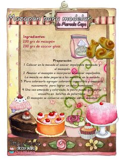 Tartas, Galletas Decoradas y Cupcakes: Recetas Pasta Modelar Icing Frosting, Fondant Icing, Fondant Cupcake Toppers, Cupcake Cakes, Bakery Recipes, Dessert Recipes, Sweet Desserts, Cookies And Cream, Food Illustrations
