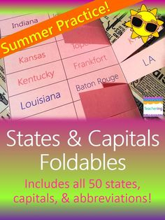 Summer states, capitals, & state abbreviations practice! Makes fun & meaningful summer homework. Perfect summer vacation homework or skill practice for students that want to push themselves this summer! Students can add their own mnemonic devices to each state, capital, & abbreviation flap. Makes fun interactive student notebook (ISN) pages, center activities, & interactive study guides for homework practice.