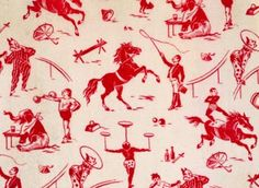 DES 94109 Textile design of circus acts, French, c.1880-90 (roller-printed wool challis) / The Design Library