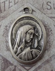 Mater Dolorosa Sorrowful Mother, Holy Italian Religious Catholic Silver Medal Necklace Pendant Charm, Blessed Virgin Mary Pray For Us, Italy Mother Of Christ, Mother Mary, Jesus In The Temple, Our Lady Of Sorrows, Pray For Us, Blessed Virgin Mary, Lady Mary, Catholic Gifts, Religious Jewelry