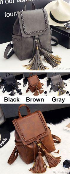 Retro PU Flap Tassels Braid Draw String Weave School Backpack for big sale! #pu #weave #draw #tassel  #school #college #bag #rucksack #backpack #retro #fashion #student #girl #fashion #travel