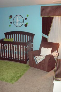 Ethans Baby Boy Room, This nursery was custom designed around the crib bedding we absolutely loved!The bright colors and geometric patterns gave us a theme and design to work with.  The paint colors, custom name decal, and polka dots really popped the room and brought everything together. I added custom window treatements and cushion to the trunk to finalize the room design., Nurseries Design