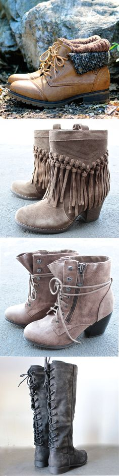 Shop our best selling boots & booties on http://www.shophearts.com ! They will surely keep you warm and cozy this upcoming fall and winter season.
