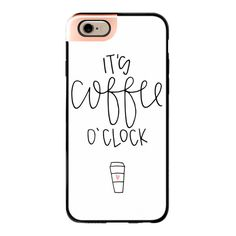 iPhone 6 Plus/6/5/5s/5c Metaluxe Case - It's coffee o'clock - white ($50) ❤ liked on Polyvore featuring accessories, tech accessories, phone, iphone case, iphone cover case, white iphone case and apple iphone cases