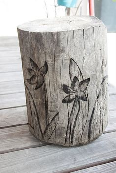 Awesome DIY stools!!! Maybe I can finally use my wood burning tool! Woot woot! ...