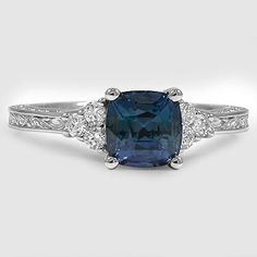 18K White Gold Sapphire Adorned Trio Diamond Ring // Set with a 6.5mm Premium Teal Cushion Sapphire (From Unique Colored Gemstone Gallery) #BrilliantEarth