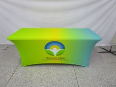 Stretch table cloth and the brightness here holy! We have many different styles of cloth and can do any custom size you need, call us today for a great quote! Tablecloths, Bright Green, Different Styles, Toy Chest, Printing On Fabric, Stretches, Quote, Free Shipping, Printed