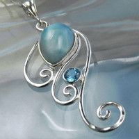 Seablue in silver wire swirls