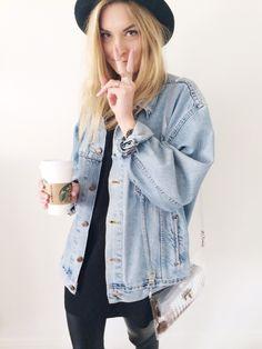 Denim jacket hat tumblr Style