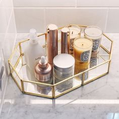 - Brayden Studio Can use this Susie Glass Vanity Tray as bathroom storage makeup organizer cosmetic organizer or jewelry organizer or display in-home or office organizer. Size: H x W x D, Color: Gold. Organizer Makeup, Makeup Storage, Jewelry Organization, Makeup Display, Makeup Holder, Diy Organizer, Jewelry Storage, Organization Ideas, Storage Ideas