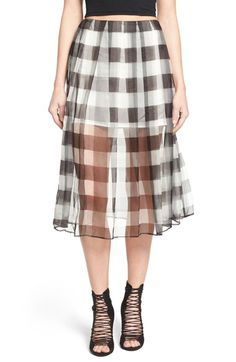 KENDALL + KYLIE Silk Organza Pleat Midi Skirt available at #Nordstrom