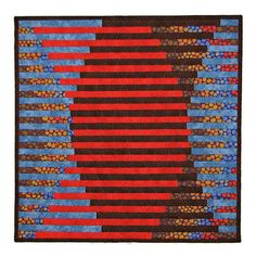 Modern Quilted Wall Hanging Interleave Art Quilt Red Brown