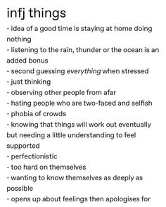 I know most of these can apply to a bunch of the types, but.it's still relatable! I know most of these can apply to a bunch of the types, but.it's still relatable! I know most of these can apply to a bunch of the types, but. Infj Traits, Infj Mbti, Intj And Infj, Isfj, Infp Personality, Myers Briggs Personality Types, Personalidad Infj, Enneagram Type 2, Infj Type
