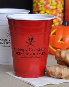 Available in 4 cup color options, 16 ounce size personalized plastic Halloween party Solo cups are custom printed with your choice of 12 fun Halloween designs and up to 3 lines of text for a scary Halloween message or fun Tricks-Or-Treats wishes. These cups can be ordered at http://myweddingreceptionideas.com/personalized_16oz_halloween_solo_cups.asp