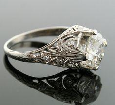 Antique Platinum Diamond Engagement Ring. $17,950.00, via Etsy.