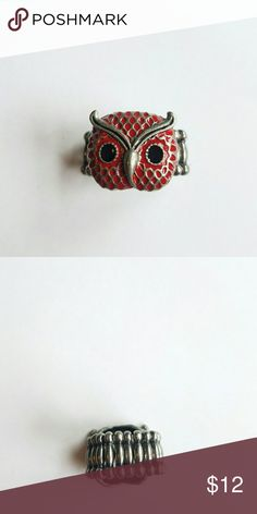 Red Owl Stretch Ring This fun ring is too small on me. I am a size 7 on my ring finger. There is no paint chipping or discoloration. This item is crosslisted. Buy now before it is gone. Jewelry Rings