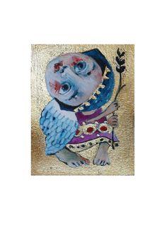 Original art Aceo folk Art angel painting ACEO by ArtStudioChimeva