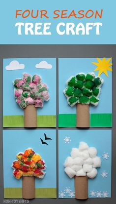 Four season tree craft for kids to make. Explore seasons: spring, summer, autumn and winter with this simple craft that uses paper rolls and cotton balls. Great for preschoolers and kindergartners and for the classroom. | at Non-Toy Gifts