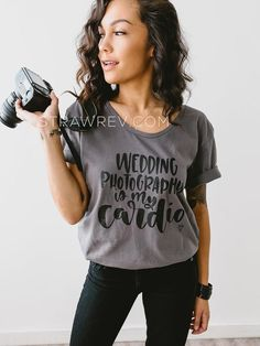 """Wedding Photography is my Cardio"" Wide neck tee #weddingphotography"