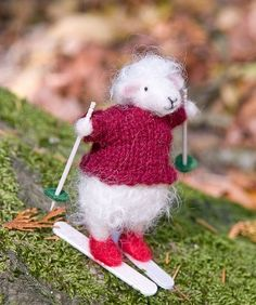 needle felted ski sheep by Sew Much Fun