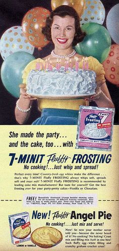 7-Minit Frosting ad. Cutesy spelling really seemed to be popular in the 1950's.