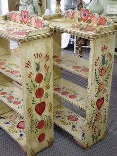 tole painted bookcases