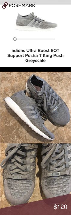 size 40 69d1d 56b4f adidas Ultra Boost EQT Pusha T King Push Greyscale Excellent condition Worn  once Mens 7 I wear an 8 and they fit me perfect adidas Shoes