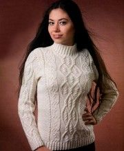 White Pullover with Textured Cable Pattern
