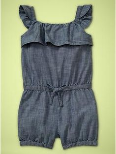 Toddlers girl Chambray romper | Gap.com    Great texture, pair with bright colored accessories & shoes