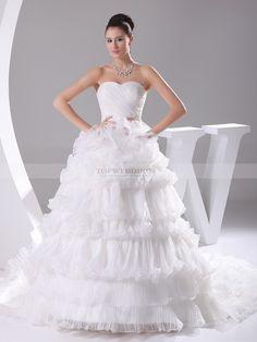 Pris - robe de mariée mode de bal traîne mi-longue en satin avec fleurs